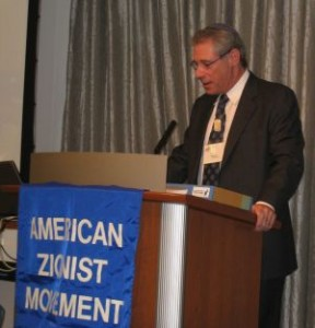 Bill Hess delivering his address after being reelected president of the American Zionist Movement