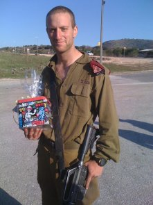 soldier with gift