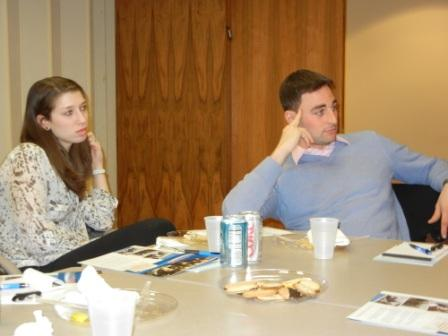 Sarah Oren and Michael Brasly listen to a question during the Q&A.
