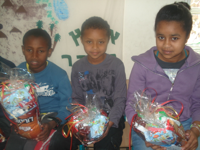 Children at the Beit Canada Absorption Center received mishloach manot
