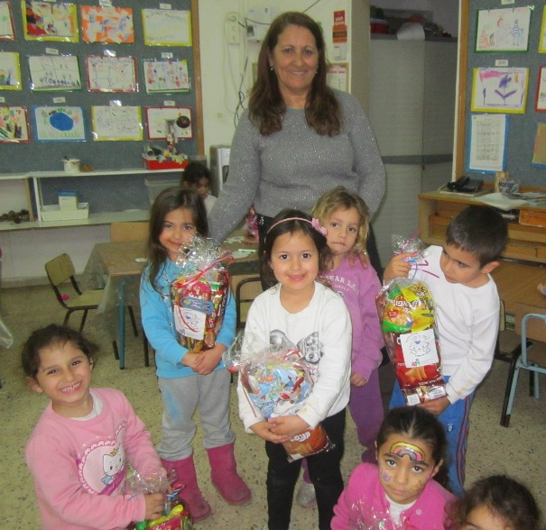 Children at the Kehillat Netzach Israel Preschool in Ashkelon received mishloach manot